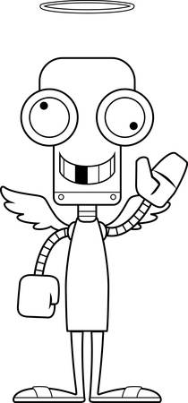 silly: A cartoon angel robot looking silly.
