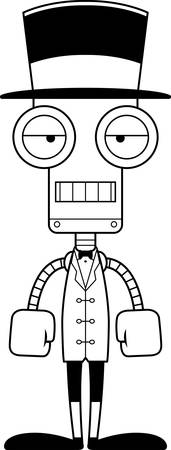 bore: A cartoon ringmaster robot looking bored.