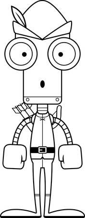 robin hood: A cartoon Robin Hood robot looking surprised. Illustration