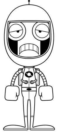 spacesuit: A cartoon astronaut robot looking sad.