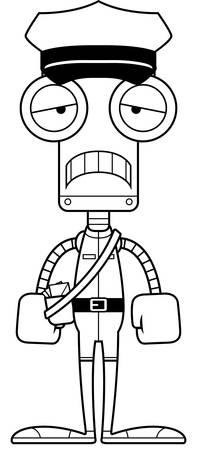 A cartoon mail carrier robot looking sad. Ilustração