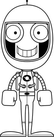 spacesuit: A cartoon astronaut robot smiling.
