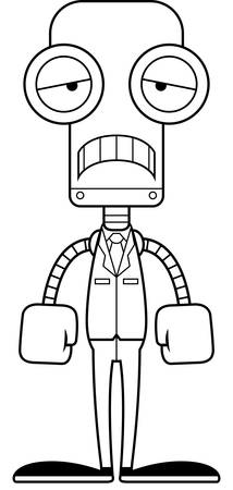 businesspersons: A cartoon businessperson robot looking sad.
