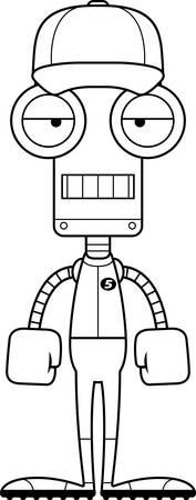 bored: A cartoon baseball player robot looking bored.