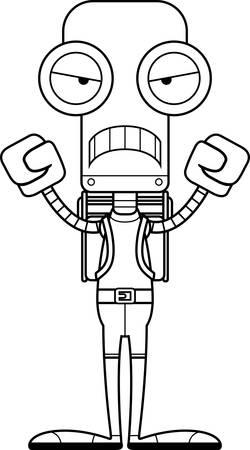 hiker: A cartoon hiker robot looking angry.