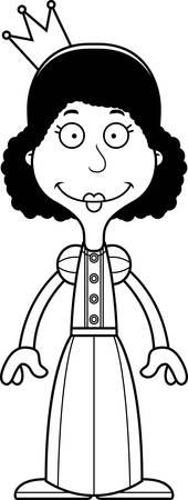 cartoon princess: A cartoon princess woman smiling.