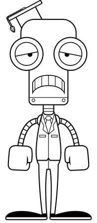 graduacion caricatura: Un robot maestro historieta que parece triste. Vectores
