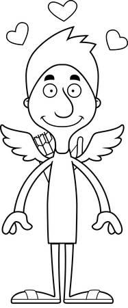 cupid man: A cartoon cupid man smiling.
