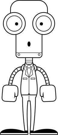 businessperson: A cartoon businessperson robot looking surprised. Illustration