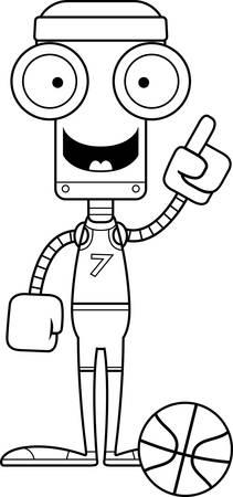 talking robot: A cartoon basketball player robot with an idea.