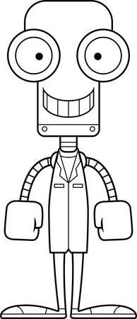 A cartoon doctor robot smiling.