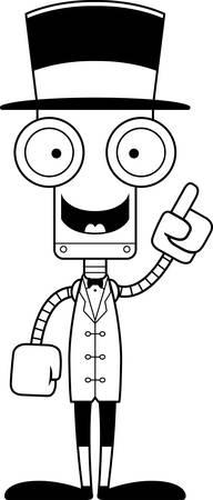 talking robot: A cartoon ringmaster robot with an idea.