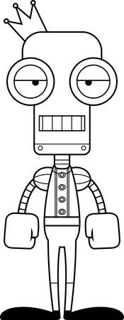 A cartoon prince robot looking bored.