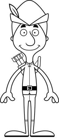 robin hood: A cartoon Robin Hood man smiling.