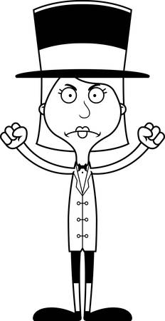 ringmaster: A cartoon ringmaster woman looking angry. Illustration