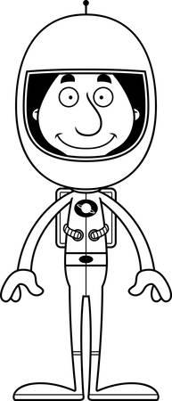 spacesuit: A cartoon astronaut man smiling. Illustration
