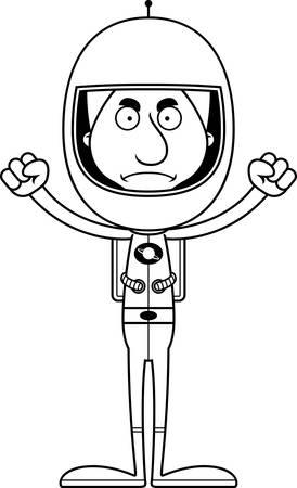 spacesuit: A cartoon astronaut man looking angry.