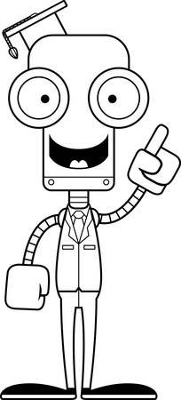 talking robot: A cartoon teacher robot with an idea. Illustration