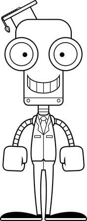 A cartoon teacher robot smiling. Ilustração