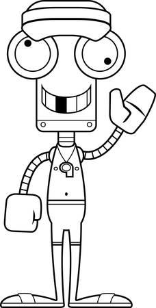 lifeguard: A cartoon lifeguard robot looking silly. Illustration