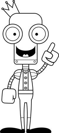 talking robot: Un robot pr�ncipe de la historieta con una idea. Vectores