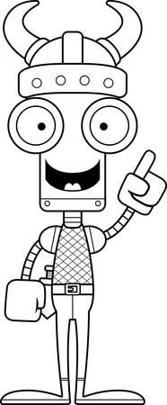 talking robot: A cartoon Viking robot with an idea.