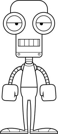 A cartoon robot looking bored. Ilustração