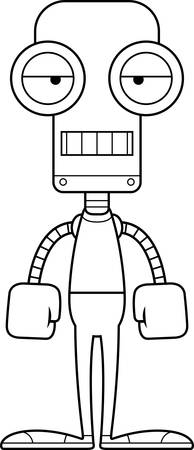 bored: A cartoon robot looking bored. Illustration