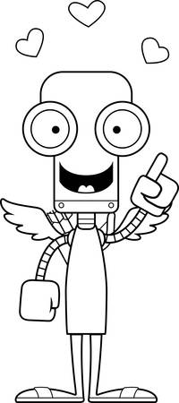 talking robot: A cartoon cupid robot with an idea. Illustration