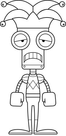 A cartoon jester robot looking sad. Reklamní fotografie - 44884397