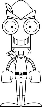 A cartoon Robin Hood robot smiling.