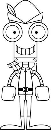 robin hood: A cartoon Robin Hood robot smiling.