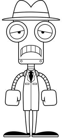 A cartoon detective robot looking sad. Çizim