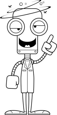 A cartoon doctor robot looking drunk.