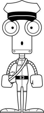A cartoon mail carrier robot looking surprised.