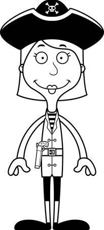 pirata mujer: Una mujer pirata de dibujos animados sonriendo.