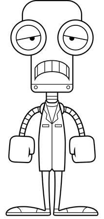 A cartoon doctor robot looking sad.