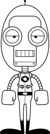 bored: A cartoon spaceman robot looking bored. Illustration
