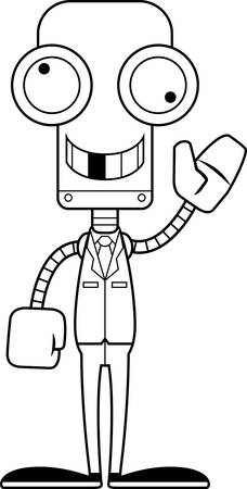businessperson: A cartoon businessperson robot looking silly.