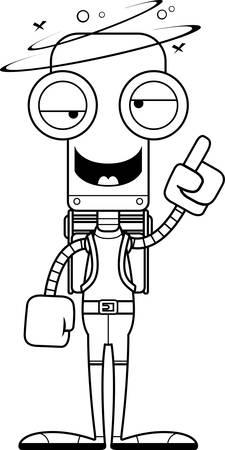 hiker: A cartoon hiker robot looking drunk.
