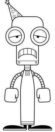 A cartoon wizard robot looking sad.