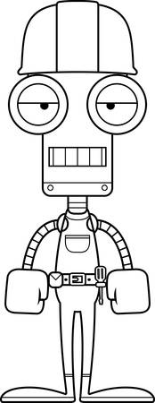 tool belt: A cartoon construction worker robot looking bored. Illustration