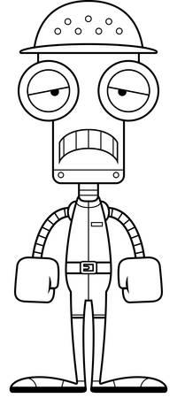 Un robot de zookeeper dessin animé regardant triste. Banque d'images - 44888215