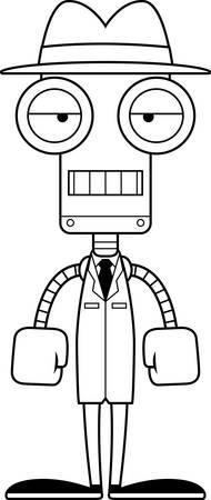 A cartoon detective robot looking bored.