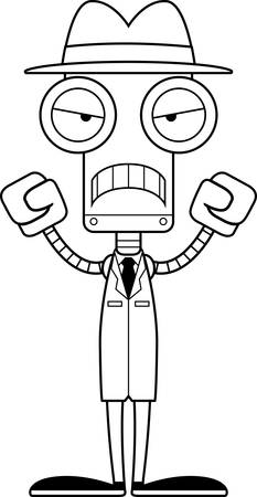 A cartoon detective robot looking angry.