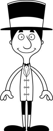 ringmaster: A cartoon ringmaster man smiling.