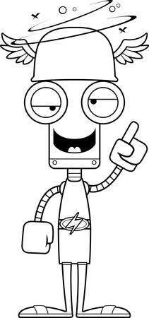 A cartoon Hermes robot looking drunk.