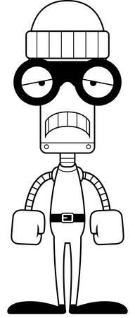 burglars: A cartoon thief robot looking sad.