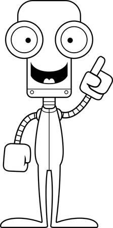 talking robot: A cartoon robot with an idea in pajamas.