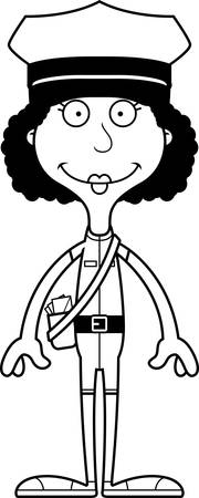 mail carrier: A cartoon mail carrier woman smiling.